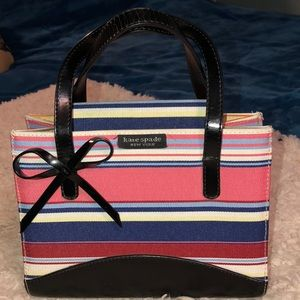Kate Spade small stripe Hand bag very good cond